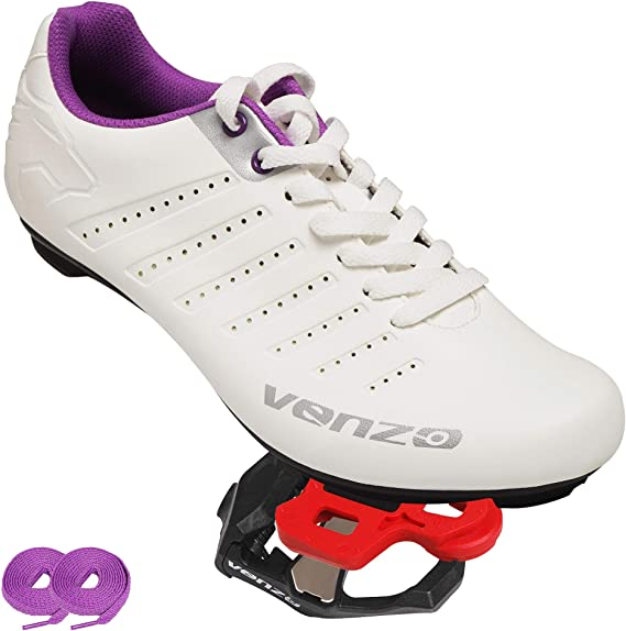 Venzo Bicycle Women's Ladies Lace Road Cycling Riding Shoes Look KEO Compatible Pedals & Cheats for Outdoor or Indoor