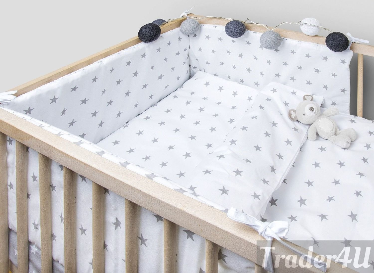 Fit to Cot Bed 140x70 cm, White Elephants on Grey MillaLu 5 Pcs Baby Nursery Bedding Set fit to Cot 120x60cm or Cot Bed 140x70cm Padded Bumper