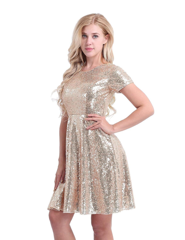 Tiaobug Damen Kleider A-linie Partykleid Knielang Elegant ...