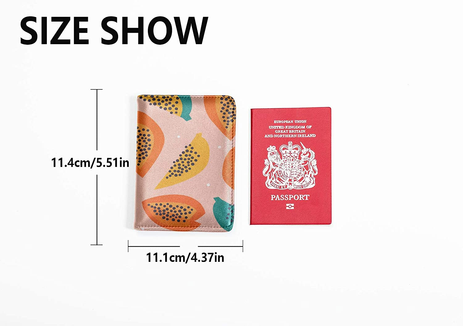 Kid Passport Cover Fashion Cute Create Fruit Papaya Passport Cover Protector Multi Purpose Print Passport Covers Women Travel Wallets For Unisex 5.51x4.37 Inch