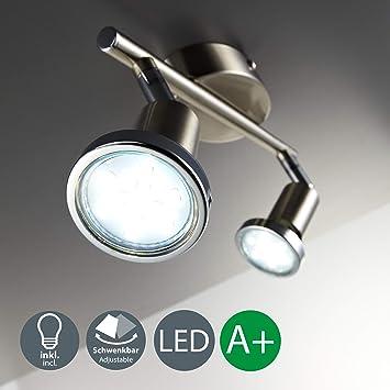 Lámpara de techo I Foco LED para techo y pared I Orientable I Incluye 2 bombillas ...