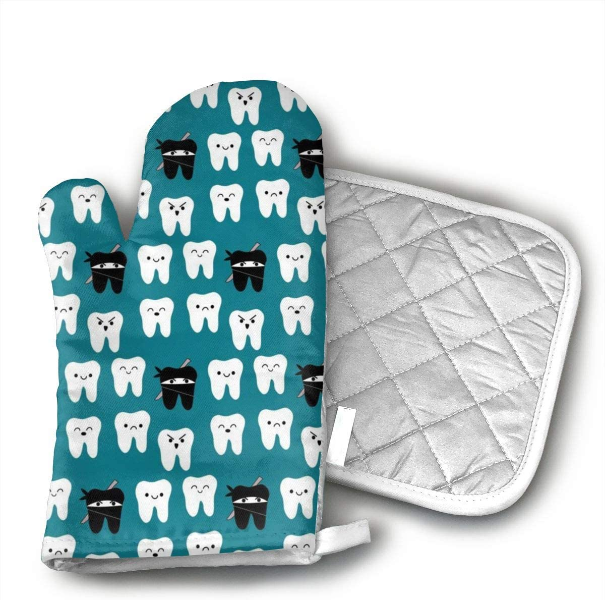Tooth Fabric - Tooth Teeth Dentist Dental Oven Mitts and Potholders (2-Piece Sets) - Kitchen Set with Cotton Heat Resistant,Oven Gloves for BBQ Cooking Baking Grilling