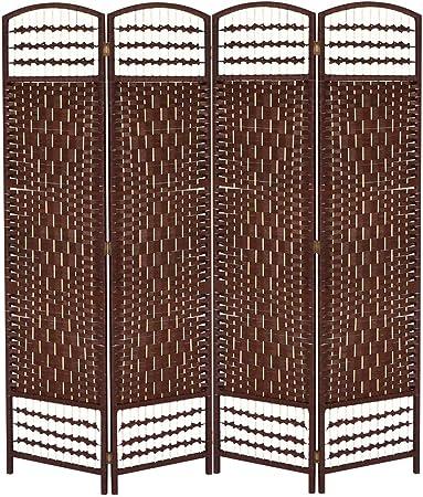 Biombo Separador Ambientes, Biombo Plegable 4 Paneles para Colocar en el Dormitorio, Sala de Estar y Oficina(Color café): Amazon.es: Hogar