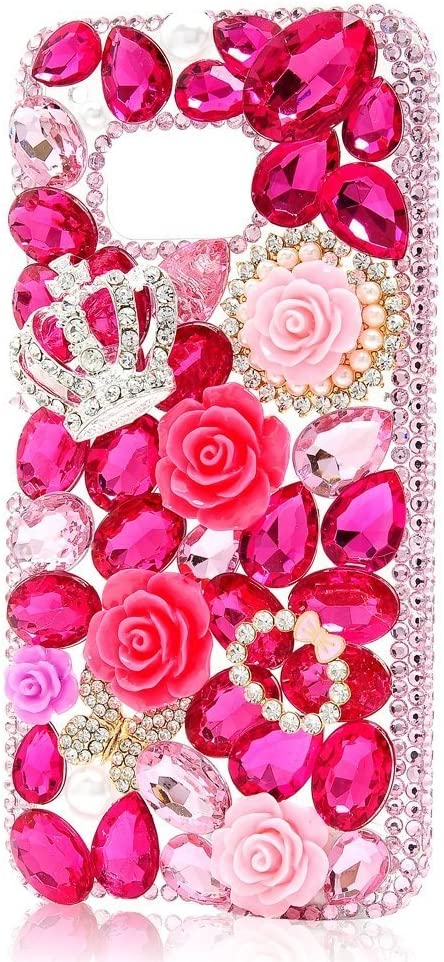 Luxury Coloured Pink Diamond with Crystal Rhinestone Beautiful Bling Flower Clear Hard Caver Case for HTC M9 TM Spritech