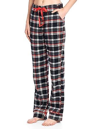 0479cb3682 Ashford   Brooks Women s Super Soft Flannel Plaid Pajama Sleep Pants - Black  Ivory - Small