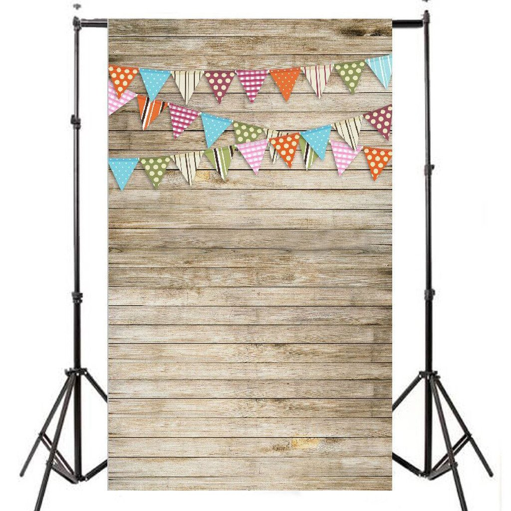 DODOING 3x5ft Customized Vinyl Photography Backdrop Digital Printing Wood Wall Floor Colorful Flags Newborn Photography Backgrounds for Studio 0.9x1.5m