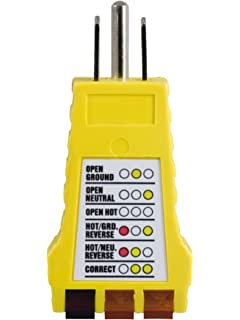 power gear gfci tester 110v 125v 50957 voltage testers amazon com power gear 3 wire receptacle tester outlet tester 6 visual indications light indicator