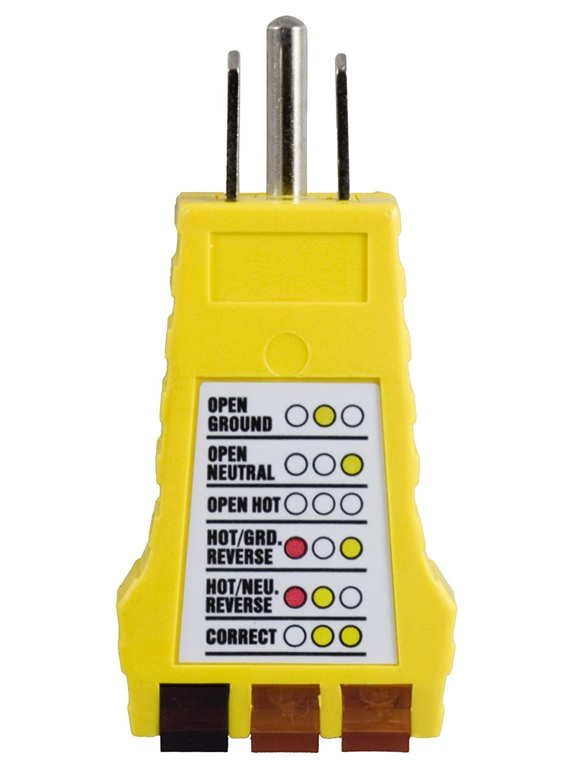 Power Gear 3 Wire Receptacle Tester Outlet 6 Visual Wiring House Indications Light Indicator Ul Listed Yellow 50542 Voltage Testers