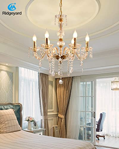 Ridgeyard Modern Luxurious Clear Crystal Gold Metal Chandelier Candle Pendant Lamp Ceiling Living Room Lighting for Dining Living Room Bedroom Hallway Entry 6 Gold