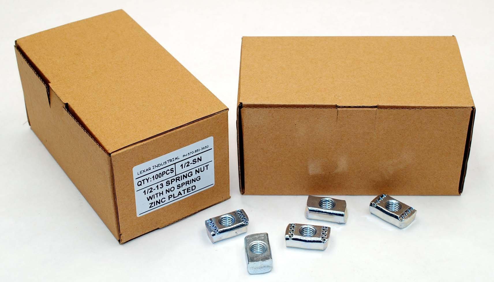 (100) Strut Channel Nuts 1/2-13 No Spring Zinc Plated Unistrut Nut by Lexar Industrial