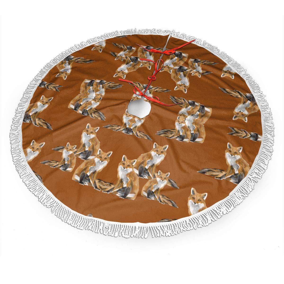 6842 Christmas Tree Skirt 30 36 48 Brushed Fabric with White Fringed Lace Dlskjda Friendly Foxes On Burnt Orange 7527