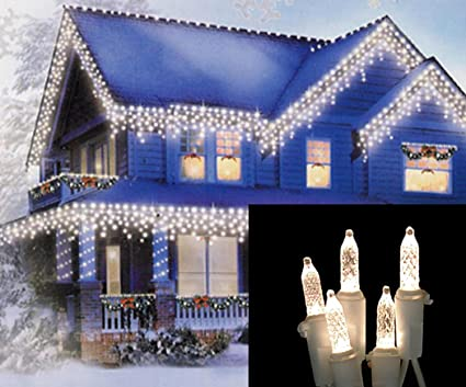 set of 100 warm white led m5 icicle christmas lights white wire