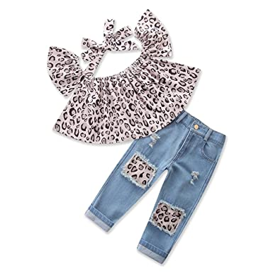 daed5a309102 Samgami Baby Girls Baby Clothes Suit Summer Daily Clothing Leopard Tops  Jeans Outfits Set  Amazon.co.uk  Clothing