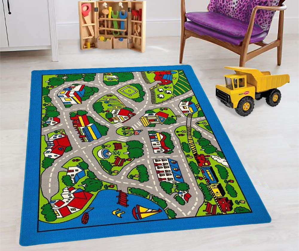 Kids Car Road Rugs City Map Play mat for Classroom/Baby Room Non-Slip Rubber Back by Handcraft Rugs