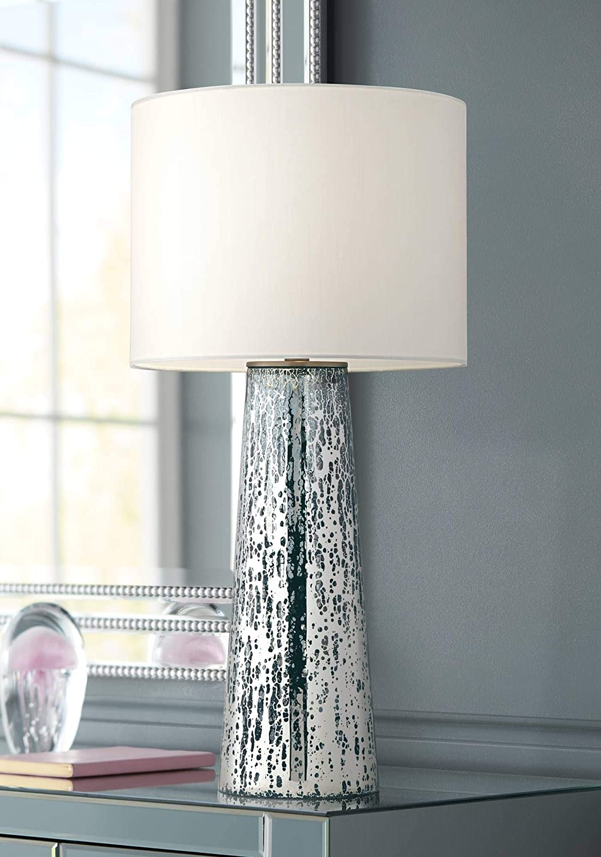 Marcus Modern Table Lamp Mercury Glass Column Shape White Drum Shade For Living Room Family Bedroom Bedside Nightstand 360 Lighting Amazon Com