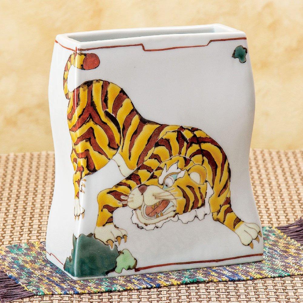 九谷焼 陶器 花瓶 虎 AK5-1299 B0721C16SN