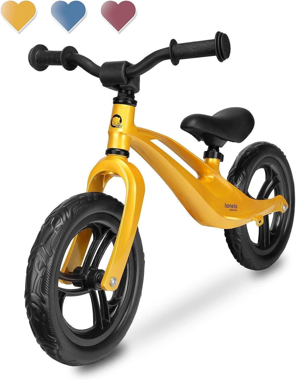 Lionelo Loe Goldie Bart - Bicicleta de Equilibrio, a Partir de 18 Meses, hasta 30 kg, Cuadro de magnesio, Ruedas Eva de 12 Pulgadas, Volante y sillín de Altura Regulable, reposapiés, Color Dorado
