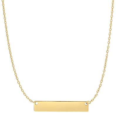 gold uk necklace pendant amazon engravable dp co yellow quot bar