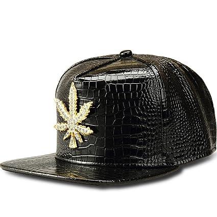 aa1469b7f5d MCSAYS Fashion Hip Hop Style Crystal CZ Iced Out Weed Pendant Gan Marijna  Leaf Adjustable Snapback