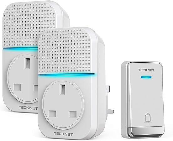 TECKNET Wireless Door Bell Kit UK Plug In 492ft Range 38Chimes Volume Adjustable