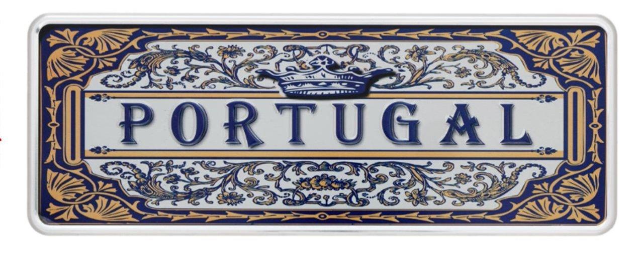 Ocean Plates Classic Azulejo–Portugal Plaque en Métal 6.25x 16, 5cm–Produit Décoratif avec Parties en Relief