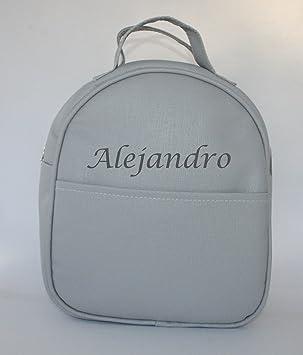 Mochila guardería en polipiel gris, personalizada con nombre. / 29x24x11 cm./: Amazon.es: Bebé