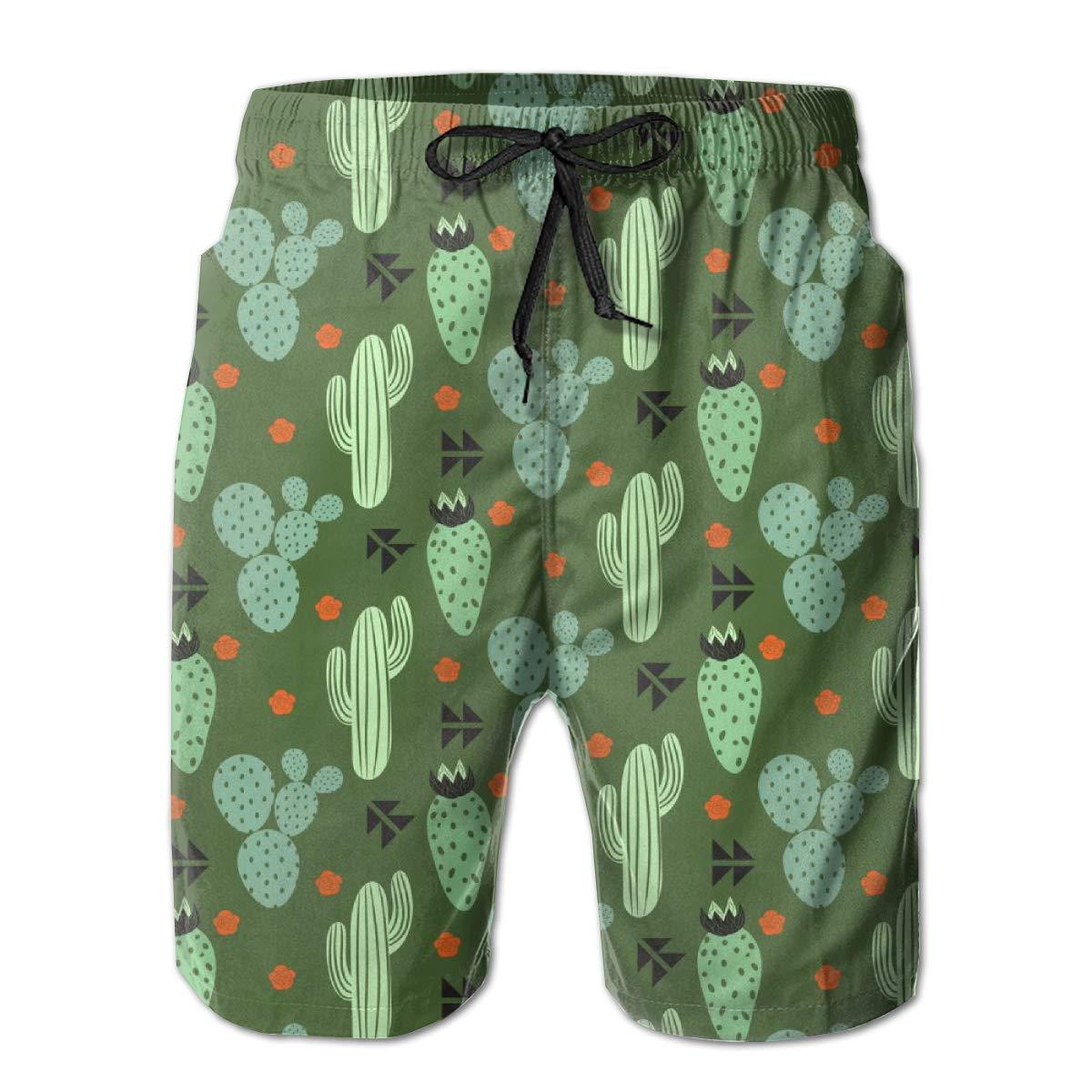 Yeates Flower Mens Swim Trunks Quick Dry Large Planted Cactus Green Printed Summer Beach Shorts Board Beach Short