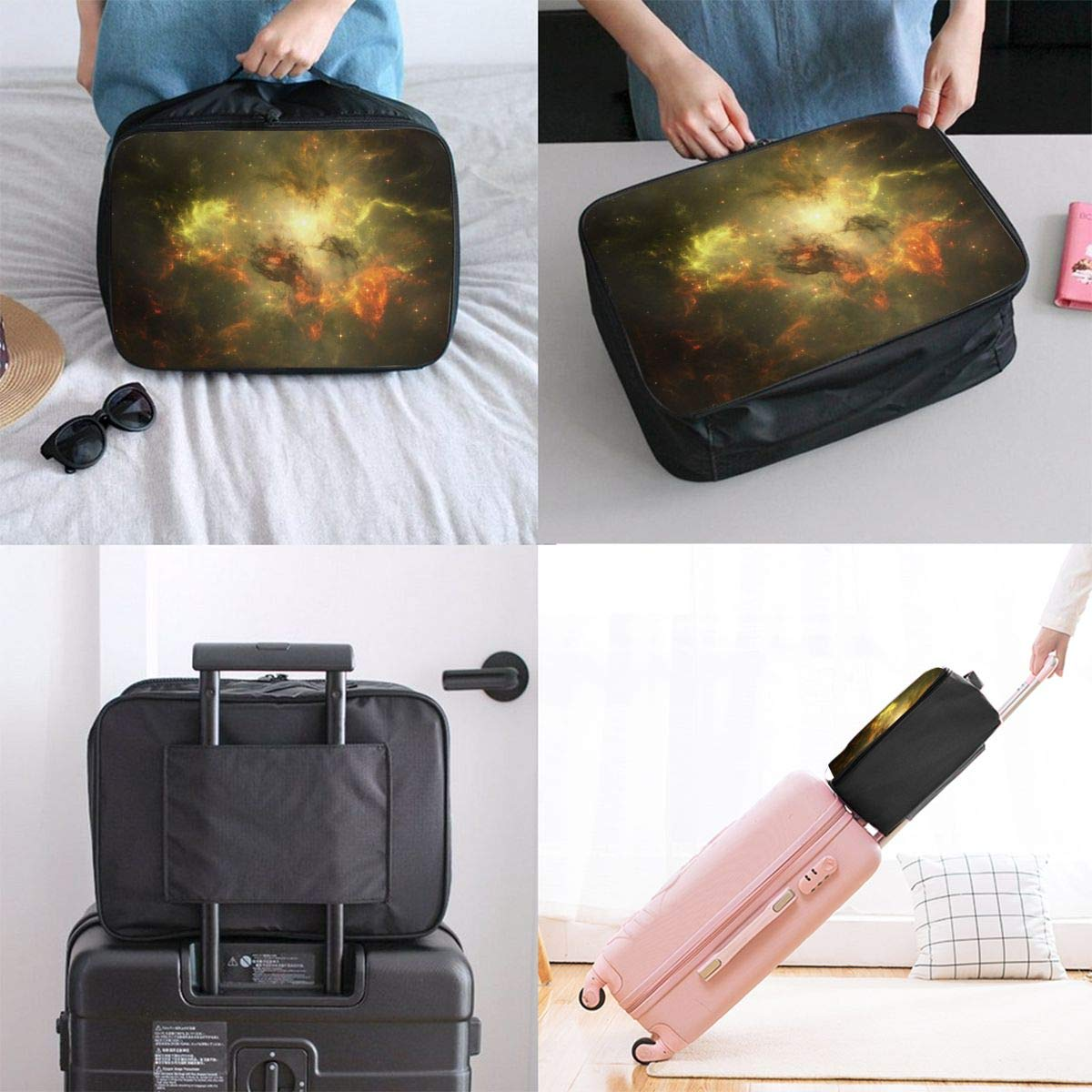 Lightweight Large Capacity Duffel Portable Luggage Bag Space Brilliant Galaxy Travel Waterproof Foldable Storage Carry Tote Bag