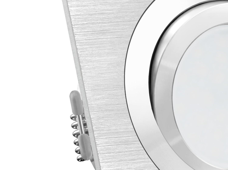 wechselbar LED Einbaustrahler QF-2 quadratisch /& schwenkbar 5W 230V warmwei/ß Einbauspot Alu geb/ürstet inklusive LED GU10