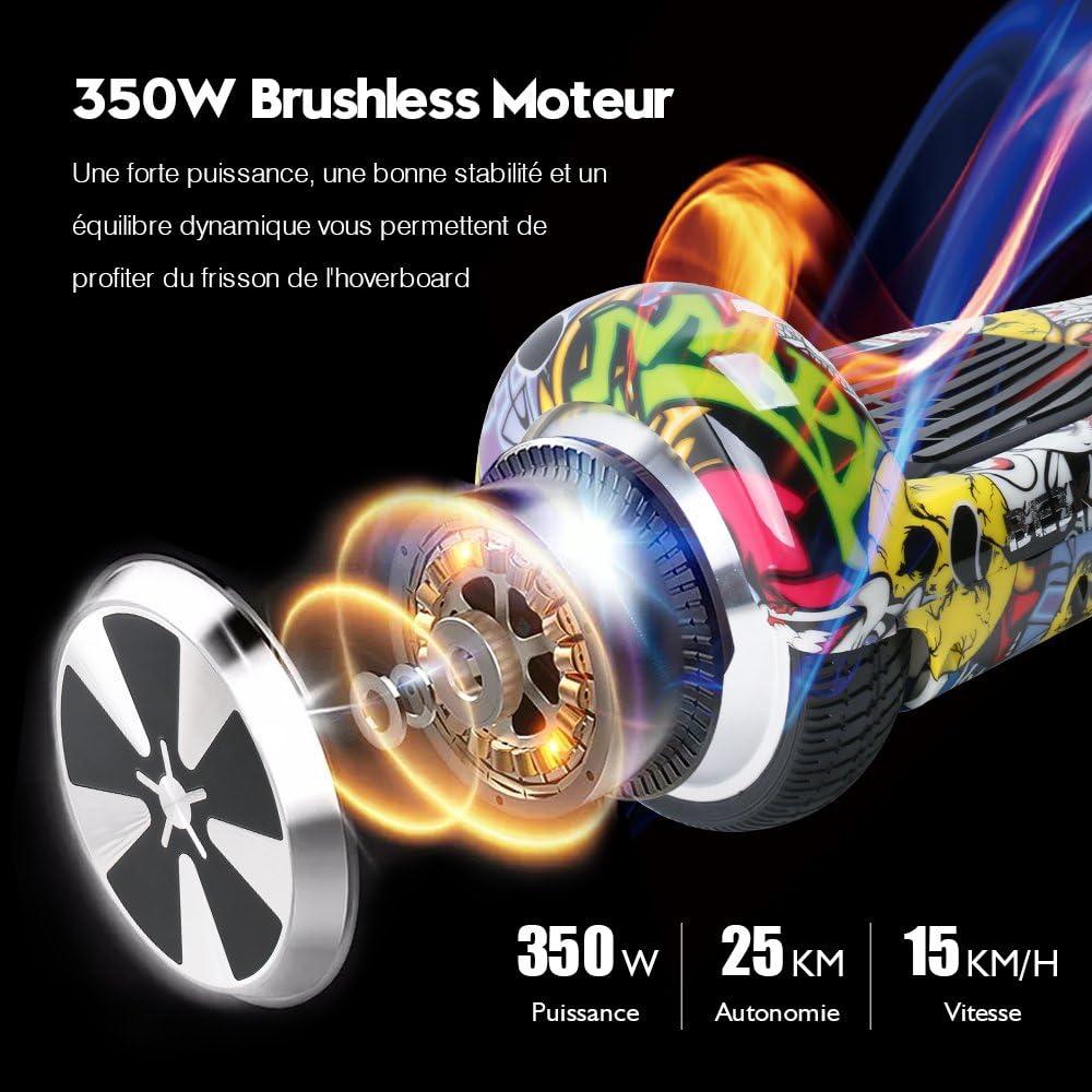 BEBK Overboard 6,5 Pouces Hoverboard Bluetooth, Électrique Auto-Équilibrage Scooter, Adulte Tout-Terrain Smart LED Gyropode, Enfant Cadeaux Camouflage-fr