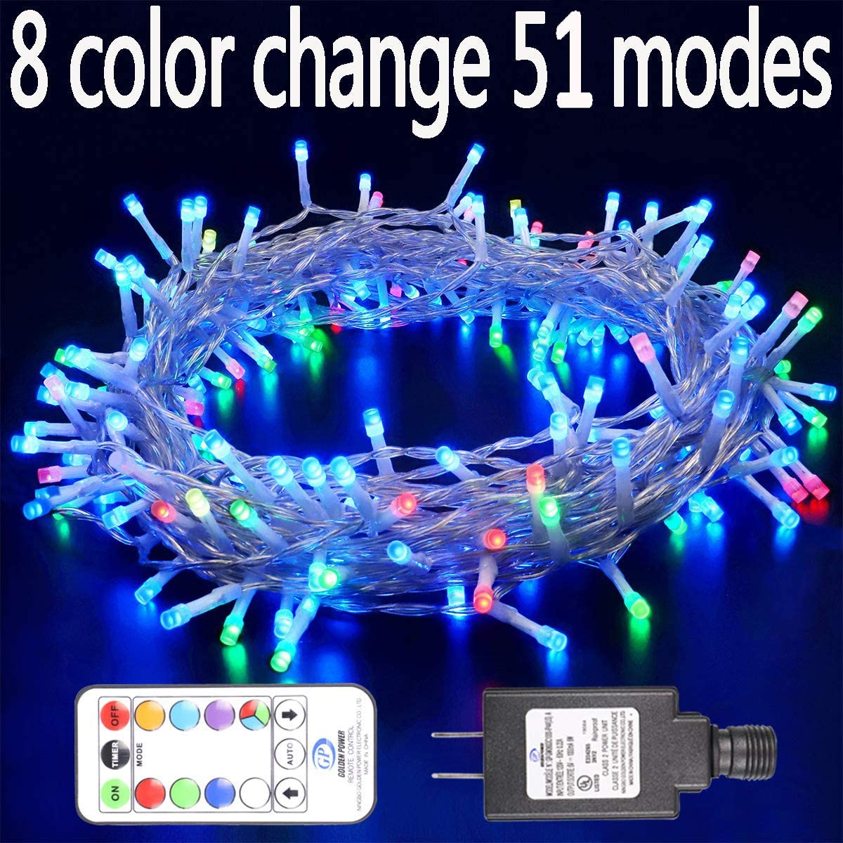 Hopolon 8 Vibrant Color Change String Lights,42.6feet 96LED RGB Decorative Fairy Lights, 51 Modes with Remote,UL Plug in Xmas Lights with 6V Safe Voltage 96LED, RGB