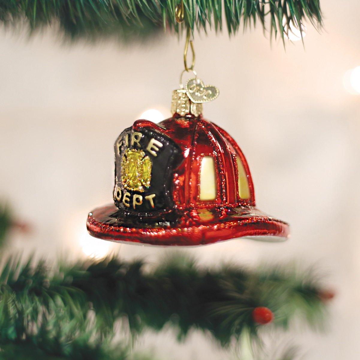 Old World Christmas Ornaments: Fireman's Helmet Glass Blown Ornaments for Christmas Tree