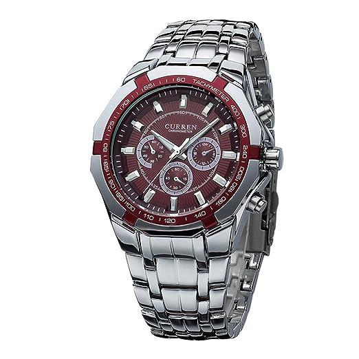 CURREN del reloj del dial redondo de negocios para hombre de la moda del reloj del acero Rojo: Amazon.es: Relojes