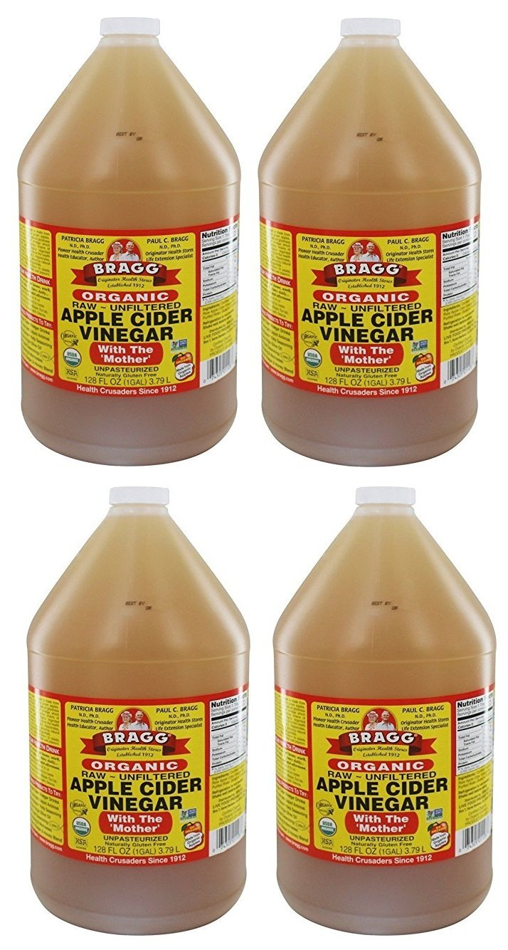 Bragg Raw Organic Apple Cider Vinegar Case of 4/1 Gallon Jugs