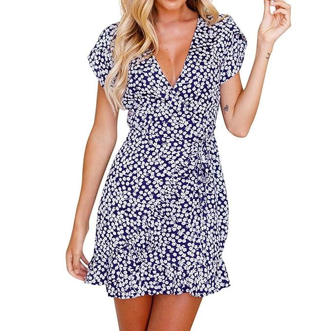 Sommerkleid Kurzarm Blumendruck V-Ausschnitt Strand Partykleid Abend Minikleid