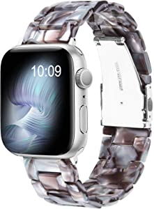 V-MORO Resin Strap Compatible with Apple Watch SE Band 40mm 38mm Series 6 with Silver Stainless Steel Buckle Bracelet Replacement for iWatch Series 5/4/3/2/ 38mm/40mm White/Coffee