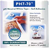 PH7-70 Acid Free mount fixing/frame seal White Tape 25mm x 66m Hinging Prints Frames Mounts pH Neutral
