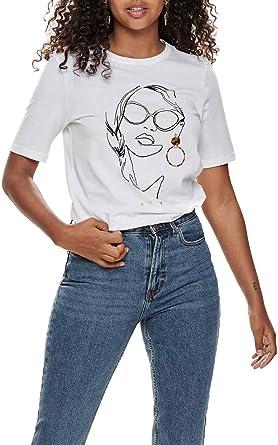 Only Camiseta Sandy Blanco Mujer XL Blanco: Amazon.es: Ropa y accesorios