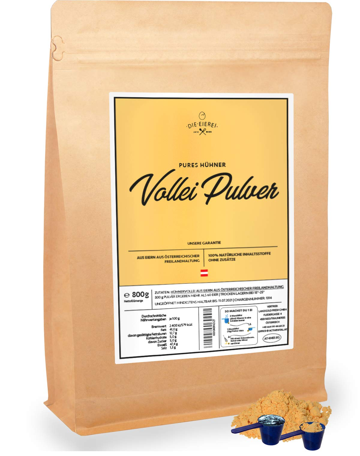 Egg-Powder 100% from Austria – 800g Free Range - Ideal for Storage exp March 2022 - Powdered Eggs for Baking and Cooking