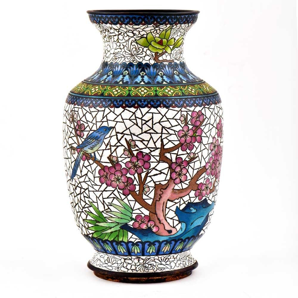 インドのシェルフハンドメイド七宝焼きエナメル装飾花瓶鳥とCrackled花デザイン(amp-101 a) B07DVFNGBV