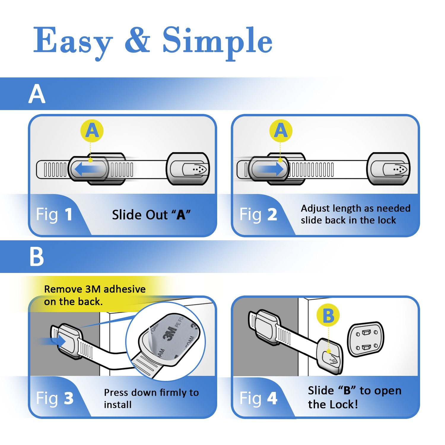 Child Safety Strap Locks (8 Pack) for Fridge, Cabinets, Drawers, Dishwasher, Toilet, 3M Adhesive No Drilling - Jool Baby by Jool Baby Products (Image #3)