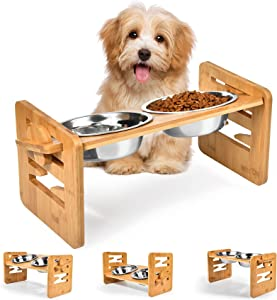 Raised Tilted Dog Bowl for Small Dogs,Elevated Slanted Feeding Bowl for Cat & French Bulldog,Pet Food and Water Bowl with Adjustable Bamboo Stand,Anti Slip Dog Cat Feeder with 2 Stainless Steel Bowls