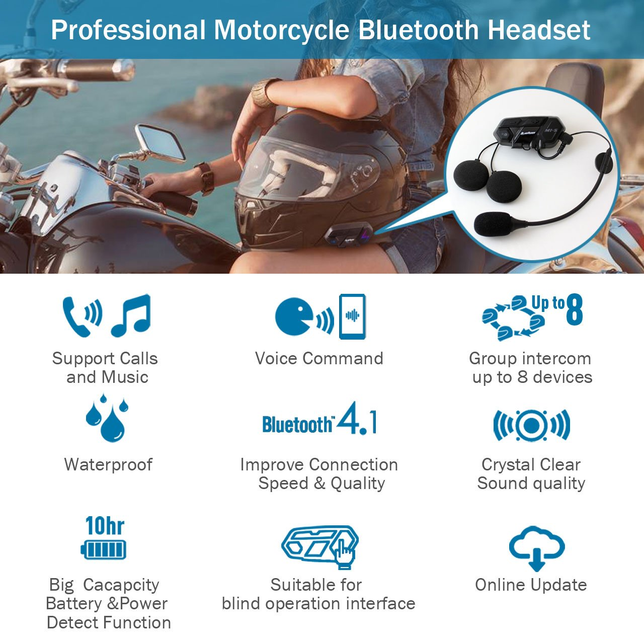 Motorcycle Bluetooth 4.1 Helmet Headset and Intercom Communication Systems Kit, Supports 8 riders group intercom, Handsfree Calls Voice Command 12hrs with Speakers headphones for Motorbike Skiing by BIBENE (Image #2)