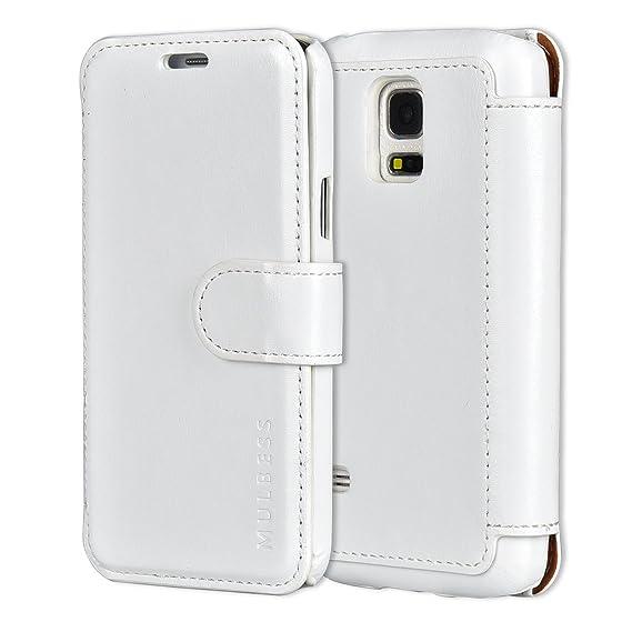 online store 3cf2b 8dd0f Mulbess Samsung Galaxy S5 mini Leather Case - Wallet Case - Ultra Slim -  Card Slot - Leather Flip Case for Samsung Galaxy S5 mini - White
