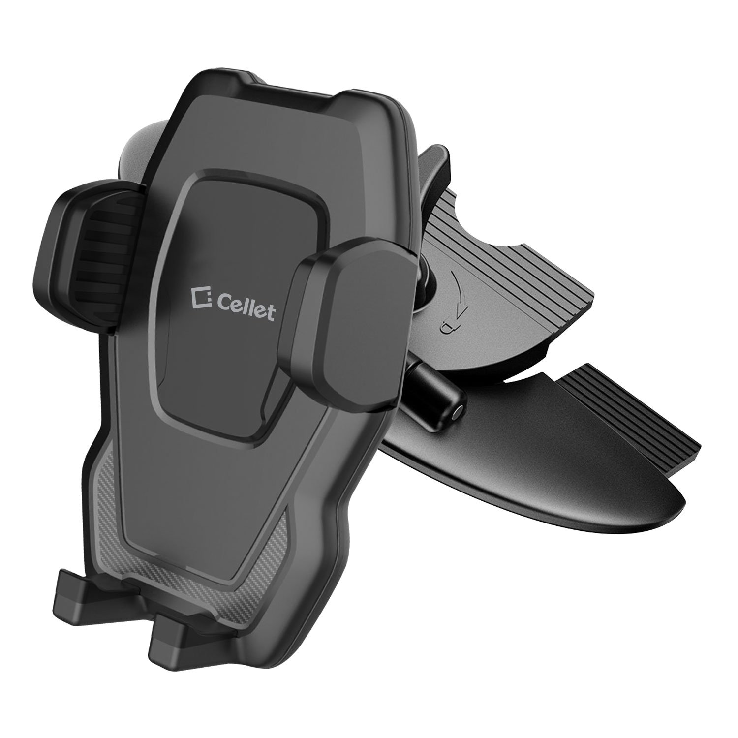 Cradle Mount with Three-Side Grips and One-Touch Design Compatible for ZTE Avid 4//Majesty Pro//Plus//Maven 3//Overture 3//Prelude+//Blade X//Axon M//Fanfare 3//Blade Force//Vantage Cellet CD Slot Phone Holder