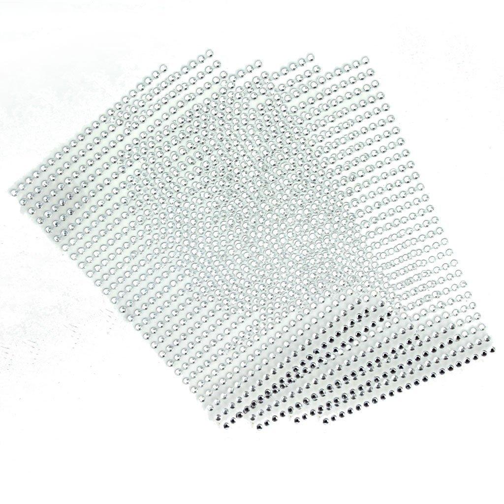 Generic 5pz Autoadesivo Cristallo Strass Adesivo Telefono PC Decorazione Scrapbook Fai Da Te - Bianco STK0155001406