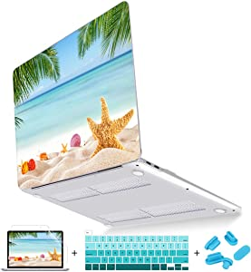 Mektron MacBook Pro 16 Case A2141, Summer Beach Clear Smooth Laptop Cover for Mac Book Pro 16 inch 2019 with Touch Bar & Touch ID, with Keyboard Cover Screen Protector Dust Plug