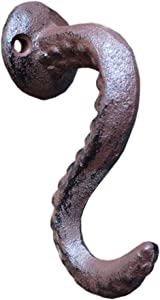 Cast Iron Wall Hook Octopus Décor Holder - Antique Vintage Design Towel Rustic Wall Kitchen Hanging Hook – French Country Charm w/Mount Screws & Anchors – Old Rustic Bronze Brown