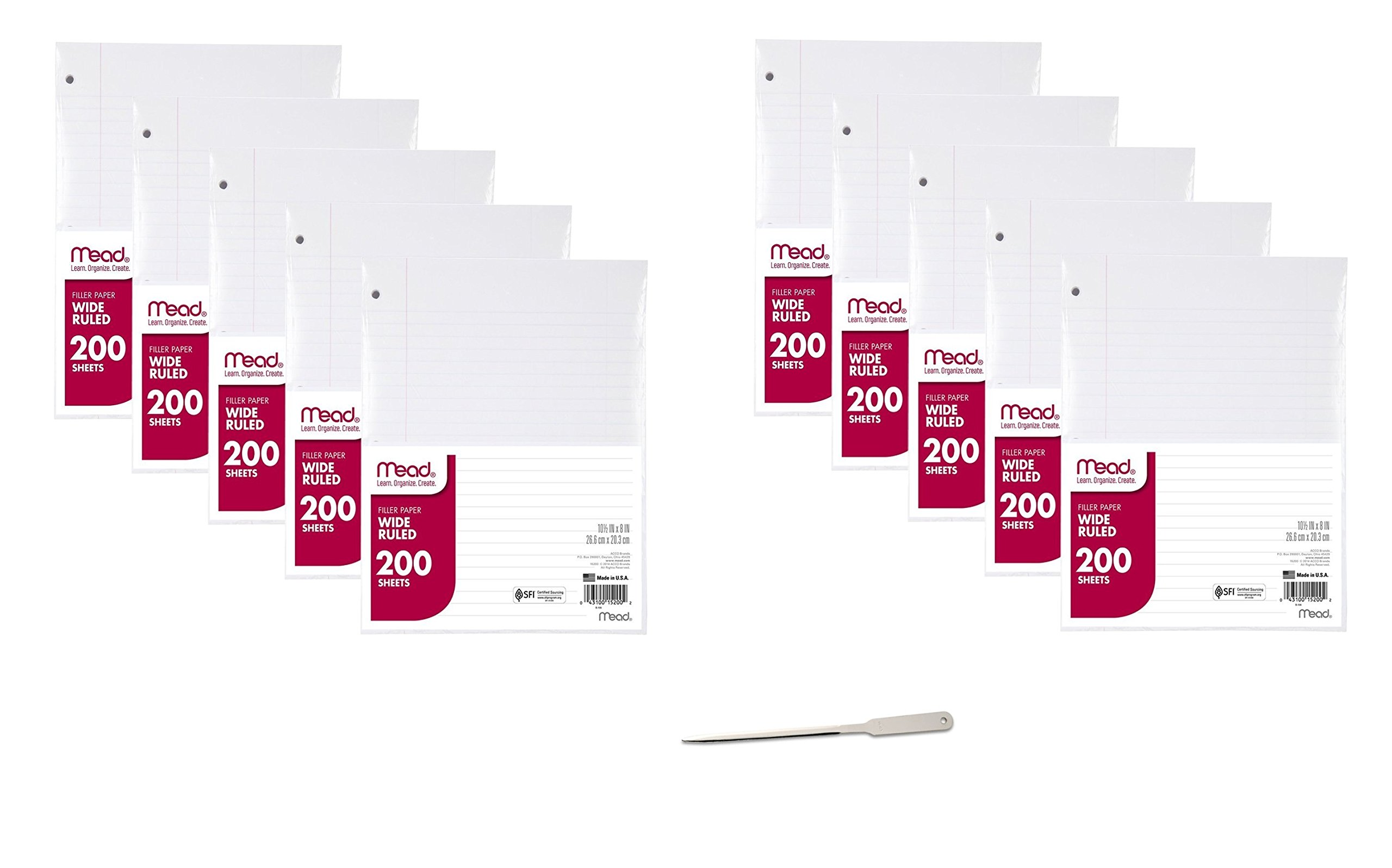 Filler Paper by Mead, Wide Ruled, 200 Sheets, 10 Pack, 2000 Sheets Total (15200) - Bundle Includes Universal Letter Opener