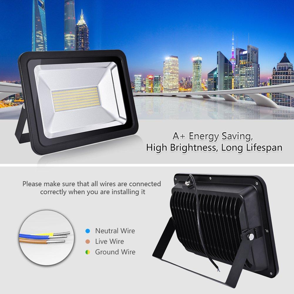 10W LED Flood Light, Outdoor Spotlight, Warm White/(2800-3500K/),  Waterproof IP65, AC 200-240V ...